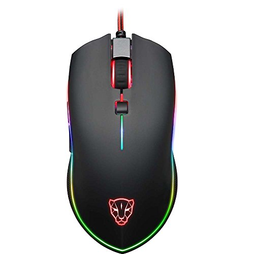 ng Maus, ECHTPower Professionnelle Gamer Maus LED Ergonomische Maus für Pro Gamer, 4000DPI, 6 Tasten, Optische USB Wired Maus ()