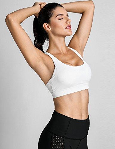 CRZ YOGA Damen Sport Yoga BH -Überkreuzte Träger,Abnehmbare Polsterung Weiß