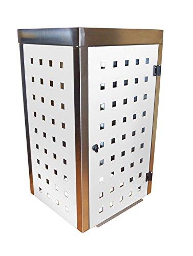 Mülltonnenbox Edelstahl, Modell Eleganza mit Pflanzwanne, 240 Liter in Weiß