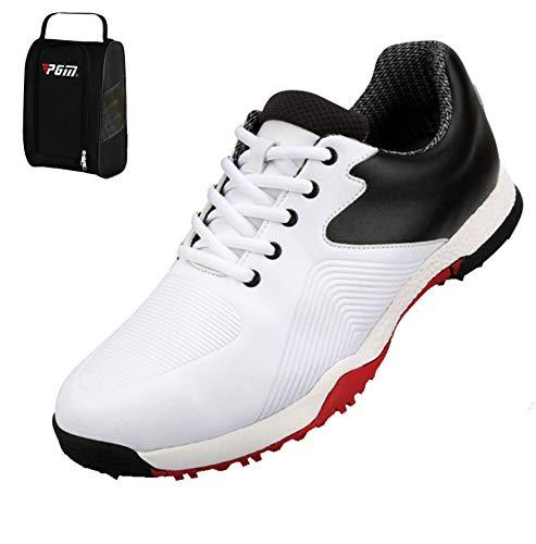 WTUGAIOHG Herren Beiläufige Golf-Schuhe, Herren Golf Perfrmance Schuhe Mit Wasserdichter Nylontuch-Schuhbeutel (42,1#) -