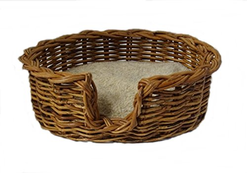 PnH® Quality Rattan Wicker Pet Basket - Extra Small (49cm) - With Sherpa Fleece Cushion