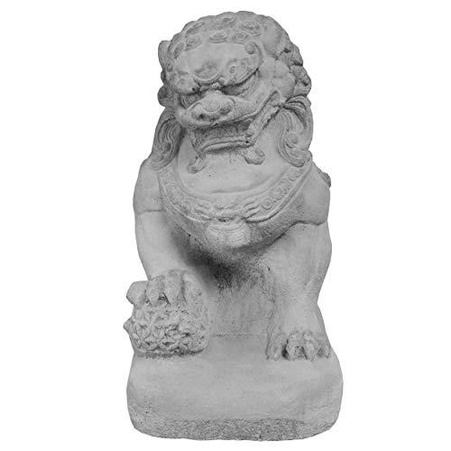 Wilai Décoration de Jardin, Statuette Chien FU (ou Lion Chinois), au Choix mâle, Femelle ou Le Couple, Gris (10336) (Mâle)