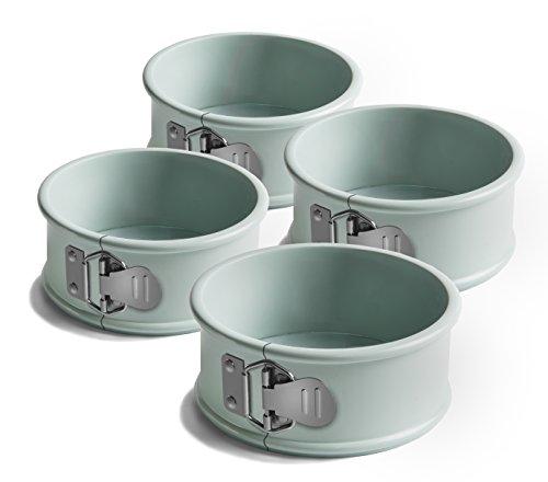 Jamie Oliver Mini Springformen, 4er-Set Backformen, Karbonstahl, harbourblue, 10 x 10 x 5,5 cm