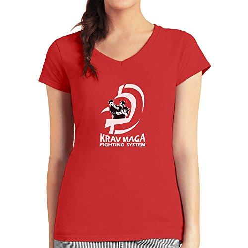 Präsent für Krav Maga Movement Fans Damen T-Shirt V-Ausschnitt Rot