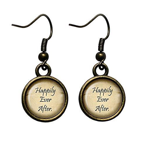 Fairytale Happily Ever After Märchen Glücklich bis ans Lebensende Antike Bronze Ohrringe