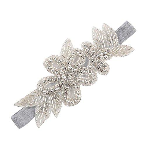 DDLBiz® Stirnbänder Strass Blume Haar-Accessoires für Mädchen Baby-Haar-Band (Grau)