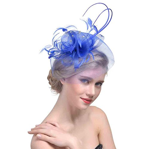QUINTRA Women New Flower Mesh Ribbons Feathers Headband Cocktail Tea Party Hat Headwear