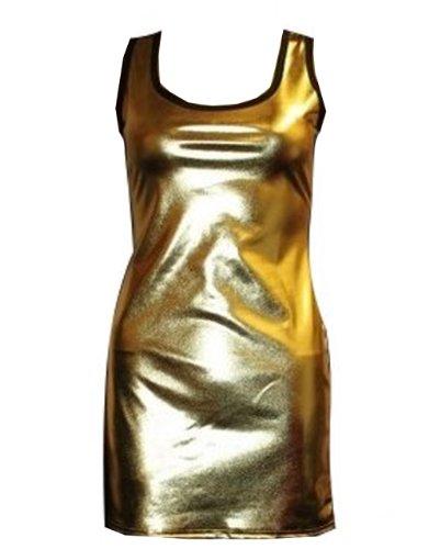 Metallic Wet Look Shiny lang Weste Top Gr. XX-Large, ()