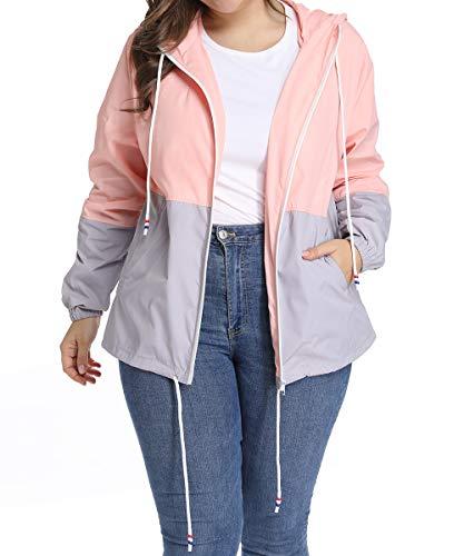 Regenjacke Damen Regenmantel Große Größen Windbreaker Jacke Wasserdicht Winddicht Softshelljacken Windjacke Outdoorjacke XL-5XL -