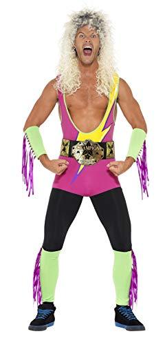 Smiffys, Herren Retro-Ringkämpfer Kostüm, Bodysuit, Gürtel, Arm- und Beinmanschetten, Größe: L, 27561