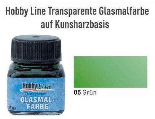 HOBBY LINE Glasmalfarbe transparent auf Kunstharzbasis Grün Gl.20 ml