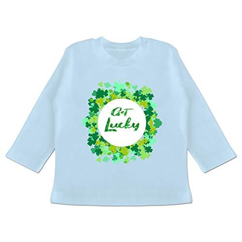 Anlässe Baby - Get Lucky Kleeblatt Glück - 6-12 Monate - Babyblau - BZ11 - Baby T-Shirt Langarm (Glück Herren T-shirts Irish)