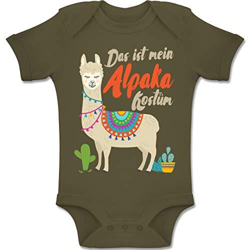 2 Für Lama Kostüm - Shirtracer Karneval und Fasching Baby - Das ist Mein Alpaka Kostüm - 1-3 Monate - Olivgrün - BZ10 - Baby Body Kurzarm Jungen Mädchen