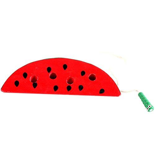 Vi.yo Spaß Niedlich Threading-Worm, aus Holz, für Kinder und Spielzeug red Watermelon Approx 5*12cm (Holz-threading)