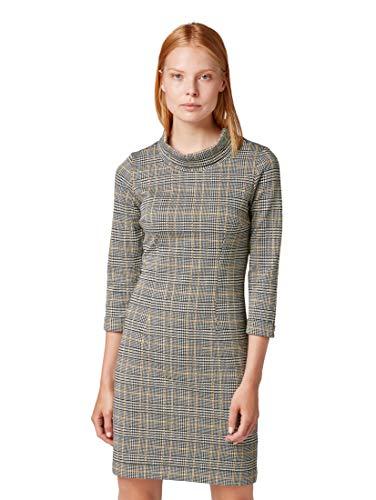 TOM TAILOR für Frauen Kleider & Jumpsuits Kariertes Kleid Black White Yellow Glencheck, 40