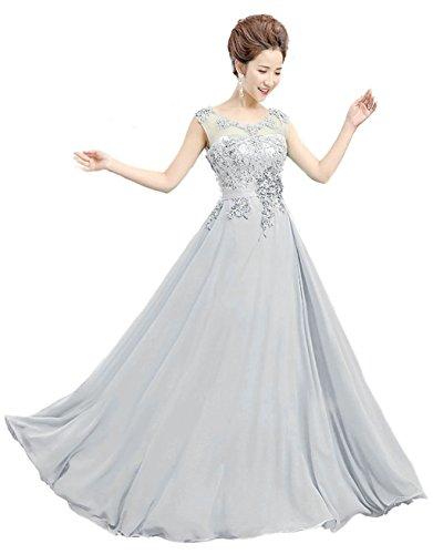 Vantexi Damen Langes Spitze Abendkleid Promkleid Abschlussballkleider Silber Größe 54
