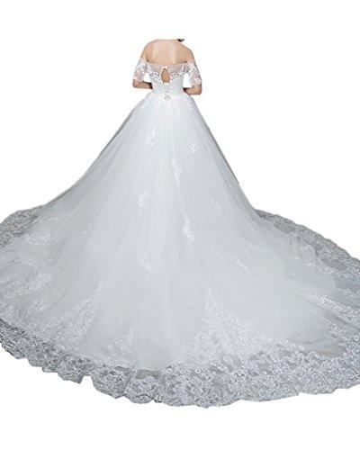 ivyd ressing Damen onirico U con scollo a punta breve maniche Strascico Abito da sposa abito da sposa Bianco