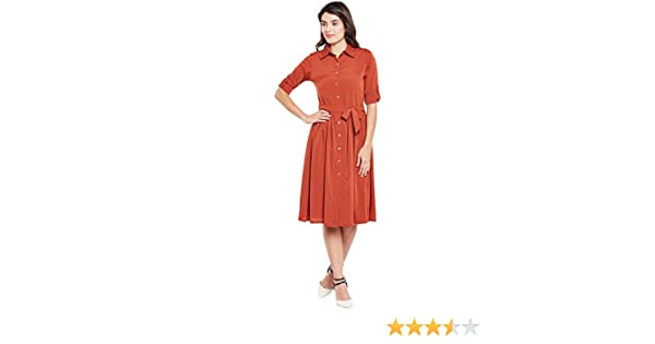 b218b66197a Wisstler Women s Rust Orange Poly Crepe Shirt Dress with Belt  Amazon.in   Clothing   Accessories