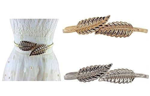 Lenhart Damenkette, aus Metall, Stretch, elastischer Gürtel, 75 cm,, 2 Stück Golden und Silber (Metall Lady Kleid)