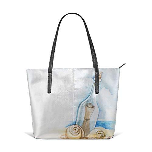 XGBags Custom Soft Leather Watercolor Illustration Of Message In A Bottle Leather Zipper Tote Ladies Shoulder Bag Shoulder Bag For Travel Shopping Tote Umhängetaschen