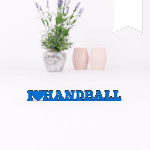 KLEINLAUT 3D-Schriftzug I Love Handball in Größe: 10 x 1,1 cm - Dekobuchstaben - 32 Farben zur Wahl - Weiß