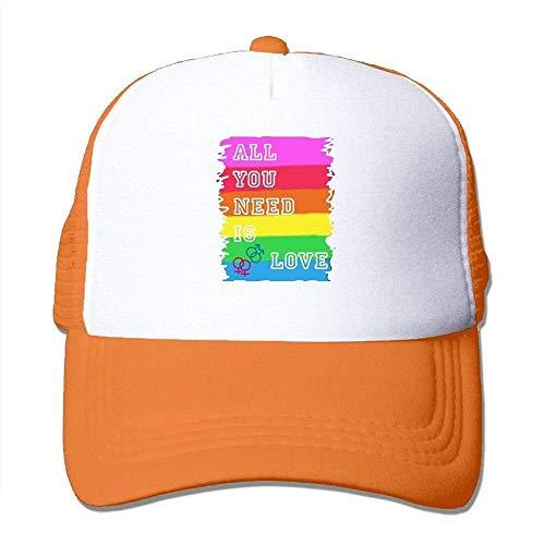 Hoswee Unisex Kappe/Baseballkappe, All You Need is Love - Gay Mesh Back Trucker Cap Snapback Hat -