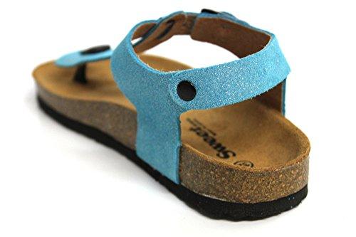 Sweet Sangle Boucle en cuir pour enfant Château de Sable d'été décontracté plat sandales Taille Bleu - bleu