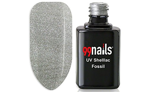 99nails Shellac Fossil 1er Pack (1 x 12 ml) Made in Germany UV Shellac UV Nagellack Schellack Gellack Silber