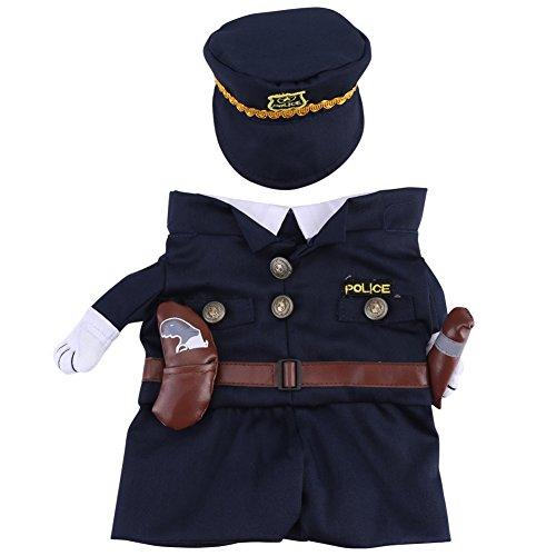 Polizist Kostüm Outfits mit Hut Haustier Hund Katze Halloween Kostüme Die Polizei für Party Weihnachten Special Events Kostüm Uniform mit Hut Funny Pet(M) (Für Halloween Polizei-uniformen)