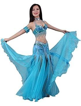 SunWanyi Mujer Danza Del Vientre Alta Falda de Hendidura Swing Maxi Falda Ropa Danza Moderna Profesional (Sin...