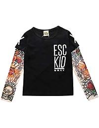 Mxssi Cool 1-7yrs Bebé Niños Niñas Camisetas Tatuaje Manga Niños Malla Manga Larga Algodón