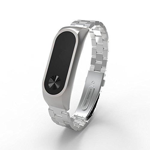 Correa de repuesto para XIAOMI miband2elegante, Y56, fino de lujo acero inoxidable impermeable inteligente Reloj de pulsera correa para Xiaomi Mi Band 2., plata