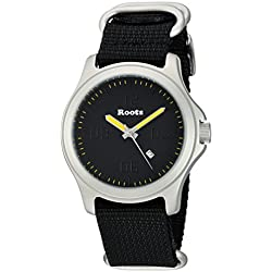 Roots Men's 'Core' Quartz Stainless Steel and Nylon Casual Watch, Color:Black (Model: 1R-LF400BA7B)