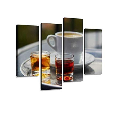 LIS HOME Zwei Gläser Madeira-Wein und Tasse Espresso Kaffee Leinwand Wandkunst hängen Gemälde Moderne Kunstwerke abstraktes Bild Drucke Dekoration Geschenk einzigartig gestaltet gerahmt 4 Panel