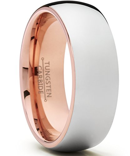 Ultimate Metals Co.® 8mm Herren Wolframcarbid Ehering Dome und Poliert Mit Rosa Ton, Bequemlichkeit Passen