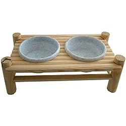 Mesa de comedor con 2 cuencos para roedores-Accesorio de madera con Cuenco doble de plástico para alimentos o de agua