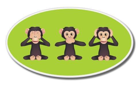 Monkeys See No Evil Hear No Evil Vinyl Sticker - Car Window Bumper Laptop - 6-Inch