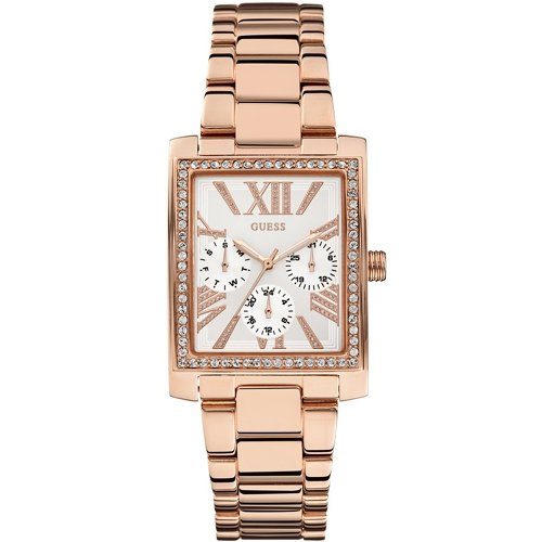 Guess Watches Ladies Haven Square Rose Gold Stone Set Multi Dial Watch