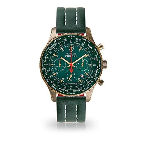 DETOMASO Firenze XXL Herren-Armbanduhr Chronograph Analog Quarz Antique Brass farbenes Edelstahlgehäuse grünes Zifferblatt (Leder - Grün (Naht: Weiß))