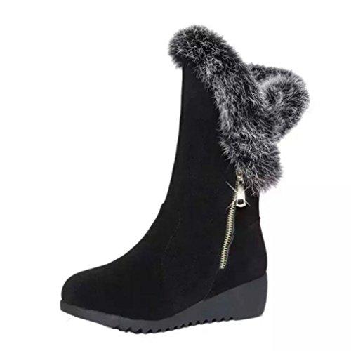 Schwarz Faux Pelz-stiefel (Stiefel Damen, DoraMe Frauen Reißverschluss Wedges Stiefel Keile Flatform Schuhe Faux Pelz Kaninchen Schneeschuhe Schwarz Schnee Stiefel (36, Schwarz))
