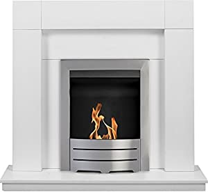 Adam Malmo Fireplace Suite in Pure White with Colorado Bio Ethanol Fire in Brushed Steel, 39 Inch