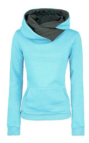 Minetom Donna Autunno Inverno Felpa Con Cappuccio Dolcevita Maglione Cappotto Caldo Casuale Giacca Blu