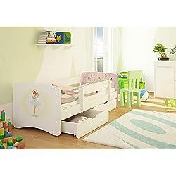 Best For Kids Cuna con protección Anti Caídas 2cajones somier 10cm Colchón TÜV Certificado Cuna para niñas y niños en 4Tamaños Muchos diseños