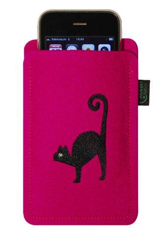 Kringsfashion feltro custodia per iphone 4/s,3, magenta, motivo: gatto, ricamato, ornato con cristallo swarovski®;