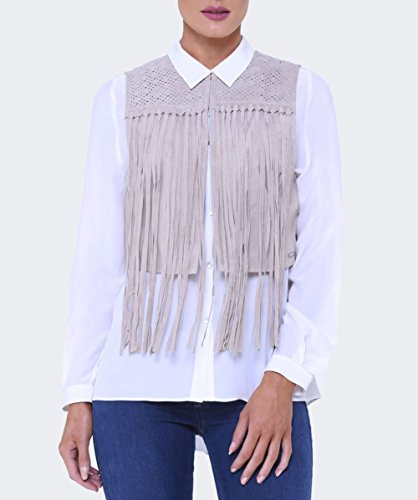 Rino and Pelle Aruba Suede Fringe gilet Sable Sable