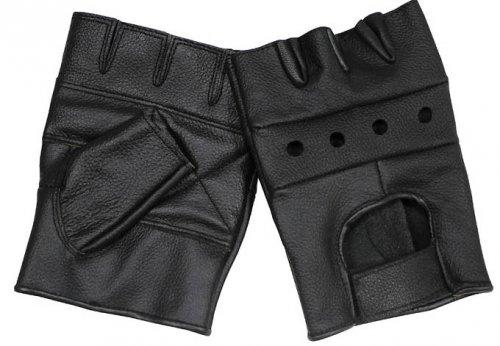 Lederhandschuhe, ohne Finger, ohne Nieten, Deluxe, schwarz Größe: M