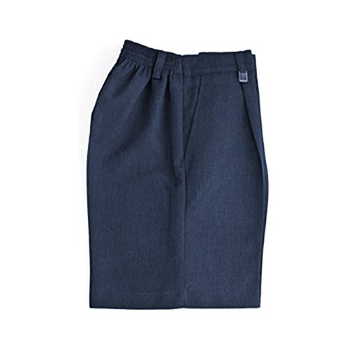 Schule Jungen Uniform stabile Passform Halb-elastische Rückseite Shorts Grau Alle Größen Gr. 12 Jahre, navy (Hose Falten Gabardine)