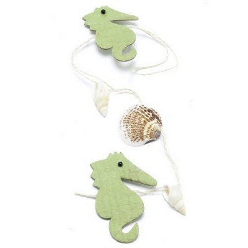 Au plaisir des yeux - Une guirlande Mer hippocampes vert anis et coquillages