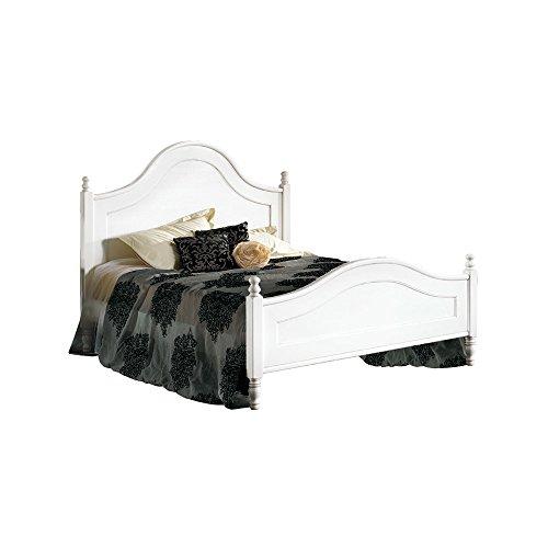 Inhouse srls letto matrimoniale, arte povera, in legno massello e mdf con rifinitura in bianco opaco - mis. 174 x 216 x 148
