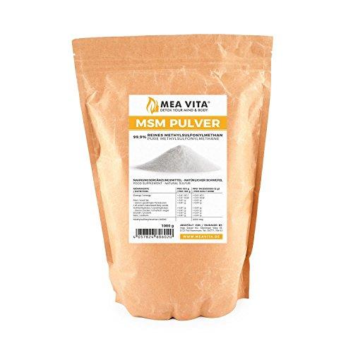 MeaVita MSM Pulver, 99,9% rein, 1er Pack (1x 1000g) Methylsulfonylmethan
